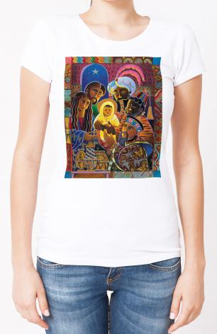 Ladies T-shirt - Light of the World Nativity by M. McGrath