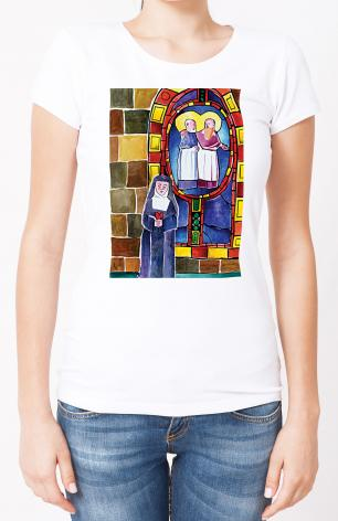 Ladies T-shirt - St. Margaret Mary Alacoque at Window by M. McGrath