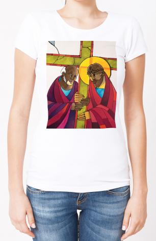 Ladies T-shirt - Stations of the Cross - 5 Simon Helps Jesus Carry the Cross by M. McGrath