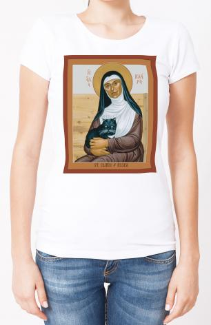 Ladies T-shirt - St. Clare of Assisi by R. Lentz