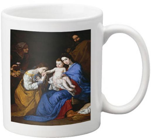 Coffee-Tea Mug - Holy Family with Sts. Anne and Catherine of Alexandria by Museum Art