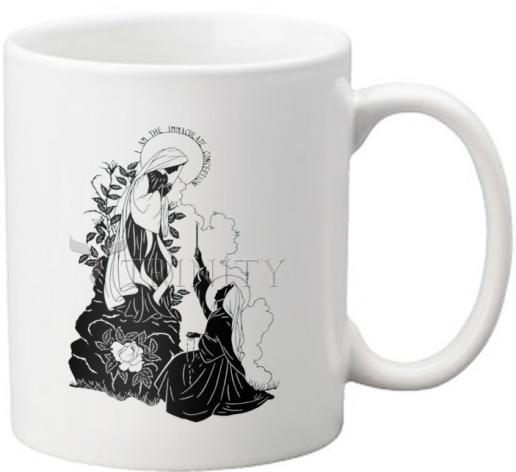 """Coffee-Tea Mug - Our Lady and St. Bernadette of Lourdes - """"I Love Thee, Madame""""  by D. Paulos"""