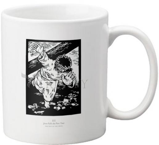 Coffee-Tea Mug - Traditional Stations of the Cross 03 - Jesus Falls the First Time by J. Lonneman