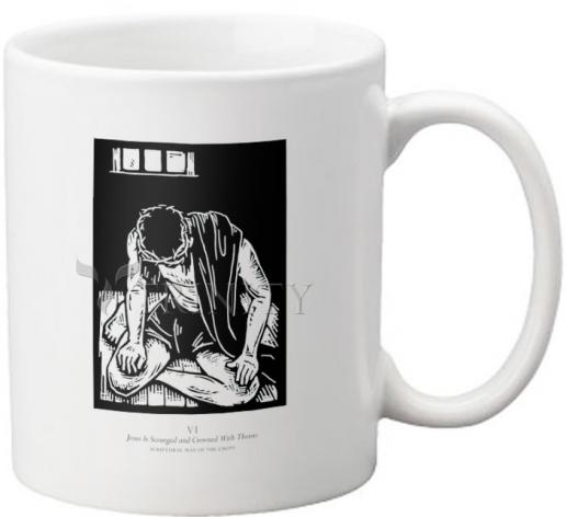 Coffee-Tea Mug - Scriptural Stations of the Cross 06 - Jesus is Scourged and Crowned With Thorns by J. Lonneman