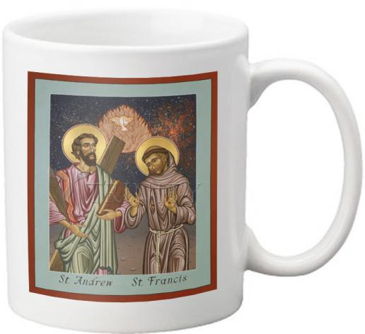 Coffee-Tea Mug - Sts. Andrew and Francis of Assisi by L. Williams