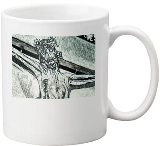 "Coffee-Tea Mug - Crucifix, Coricancha Peru: ""I Thirst"" by L. Williams"