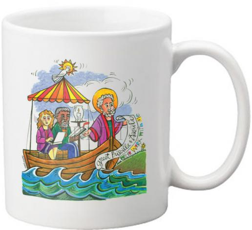 Coffee-Tea Mug - St. Paul: Greet Sts. Priscilla and Aquila by M. McGrath