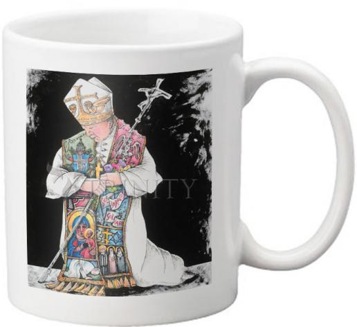 Coffee-Tea Mug - St. John Paul II Kneeling by M. McGrath