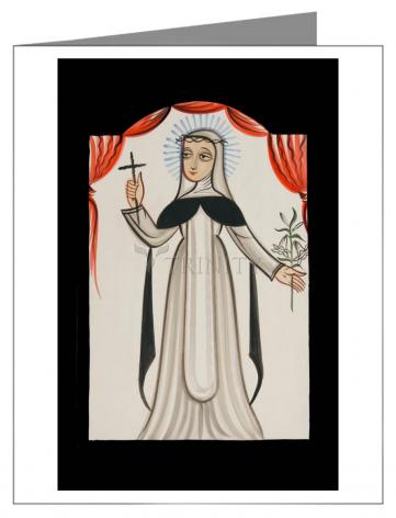 Custom Text Note Card - St. Catherine of Siena by A. Olivas