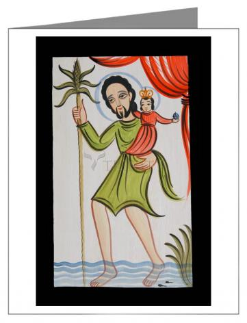 Custom Text Note Card - St. Christopher by A. Olivas