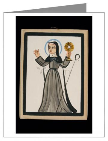 Custom Text Note Card - St. Clare of Assisi by A. Olivas