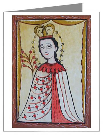 Custom Text Note Card - Our Lady of the Roses by A. Olivas