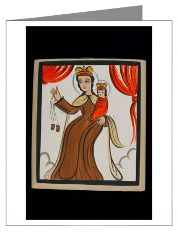 Custom Text Note Card - Our Lady of Mt. Carmel by A. Olivas