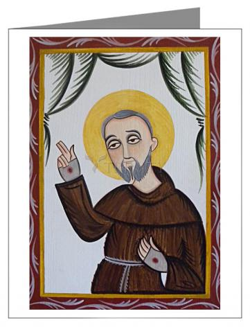 Custom Text Note Card - St. Padre Pio by A. Olivas