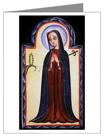 Custom Text Note Card - Mater Dolorosa - Mother of Sorrows by A. Olivas