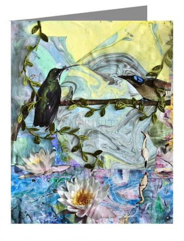 Custom Text Note Card - Birds Singing Above White Heron by B. Gilroy