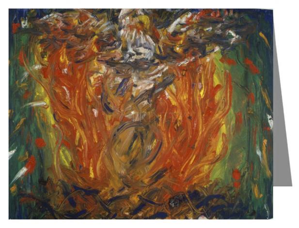 Custom Text Note Card - Eagle in Fire That Does Not Burn by B. Gilroy