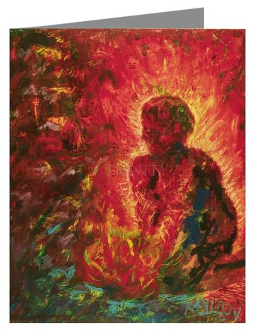 Custom Text Note Card - Tending The Fire by B. Gilroy