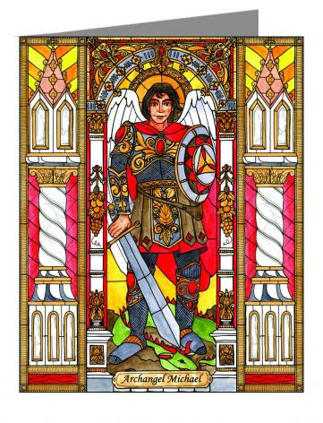 Custom Text Note Card - St. Michael Archangel by B. Nippert