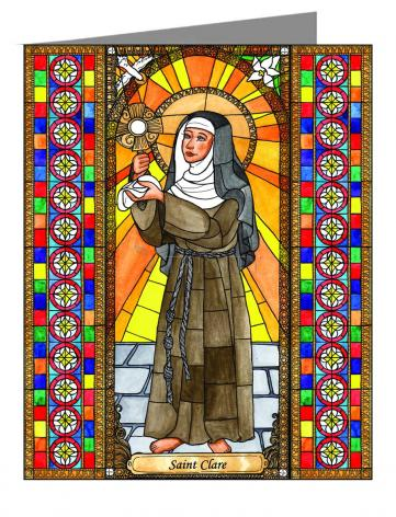 Custom Text Note Card - St. Clare of Assisi by B. Nippert