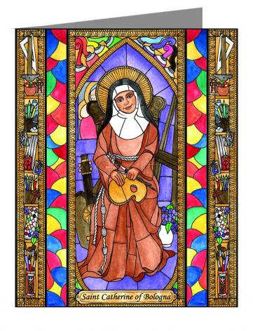 Custom Text Note Card - St. Catherine of Bologna by B. Nippert