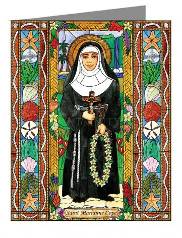 Custom Text Note Card - St. Marianne Cope by B. Nippert