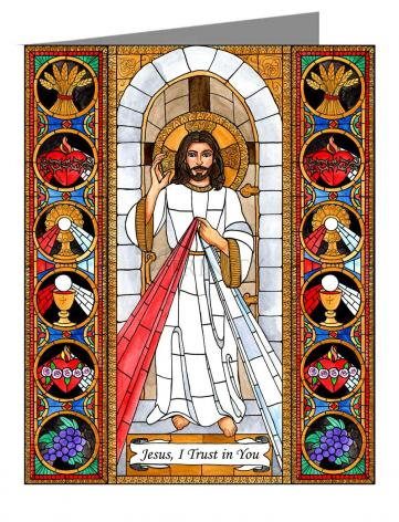 Custom Text Note Card - Divine Mercy by B. Nippert