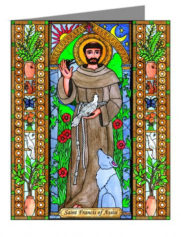 Custom Text Note Card - St. Francis of Assisi by B. Nippert