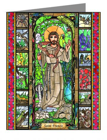 Custom Text Note Card - St. Francis - Patron of Exotic Animals by B. Nippert