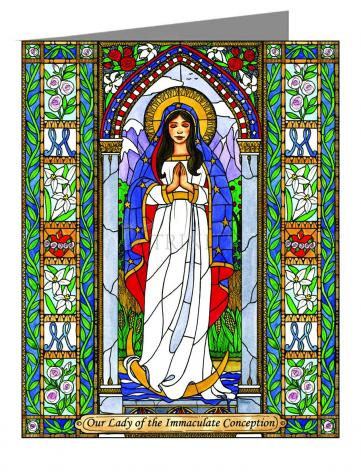 Custom Text Note Card - Our Lady of the Immaculate Conception by B. Nippert