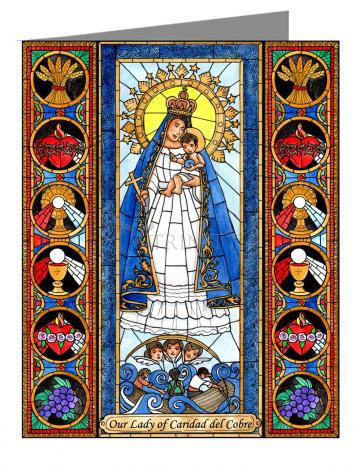 Custom Text Note Card - Our Lady of Caridad del Cobra by B. Nippert