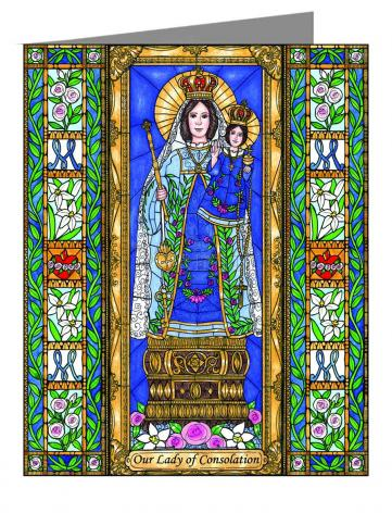 Custom Text Note Card - Our Lady of Consolation by B. Nippert