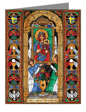 Custom Text Note Card - Our Lady of Czestochowa by B. Nippert