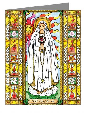 Custom Text Note Card - Our Lady of Fatima by B. Nippert