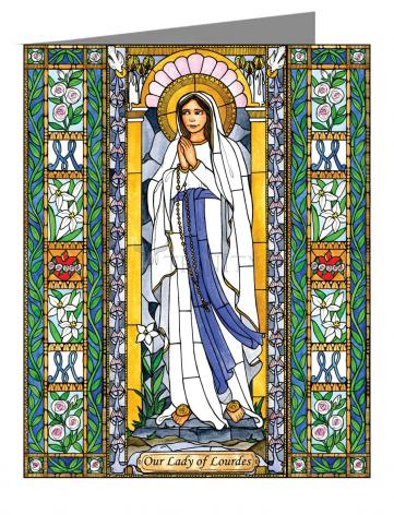 Custom Text Note Card - Our Lady of Lourdes by B. Nippert