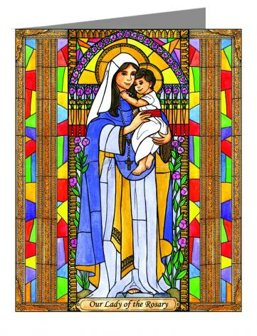 Custom Text Note Card - Our Lady of the Rosary by B. Nippert