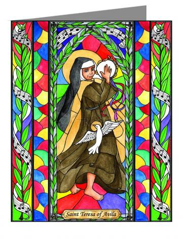 Custom Text Note Card - St. Teresa of Avila by B. Nippert