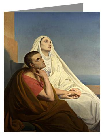 Custom Text Note Card - Sts. Augustine and Monica by Museum Art