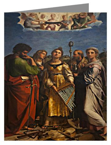 Custom Text Note Card - Ecstasy of St. Cecilia by Museum Art