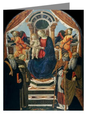 Custom Text Note Card - Madonna and Child Enthroned with Saints and Angels by Museum Art