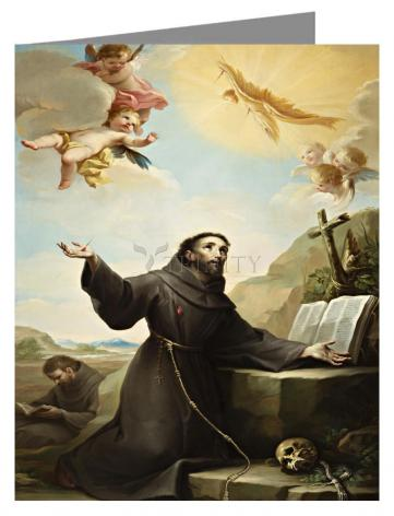 Custom Text Note Card - St. Francis of Assisi Receiving Stigmata by Museum Art
