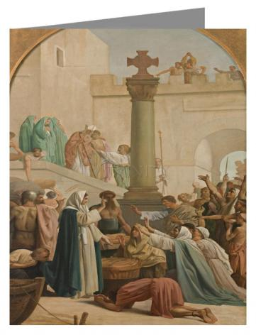 Custom Text Note Card - St. Genevieve Distributing Bread to Poor During Siege of Paris by Museum Art