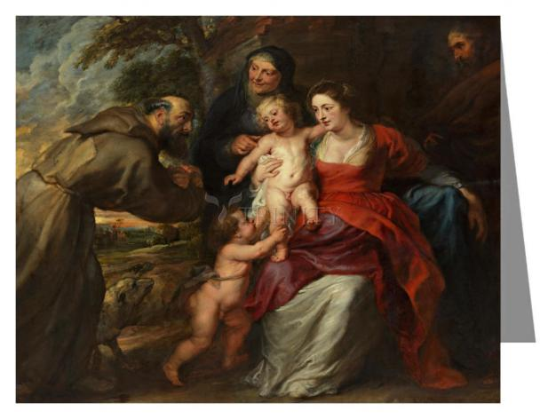 Custom Text Note Card - Holy Family with Sts. Francis and Anne and Infant St. John the Baptist by Museum Art