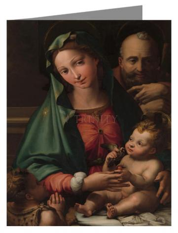 Custom Text Note Card - Holy Family with Infant St. John the Baptist by Museum Art