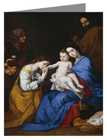 Custom Text Note Card - Holy Family with Sts. Anne and Catherine of Alexandria by Museum Art