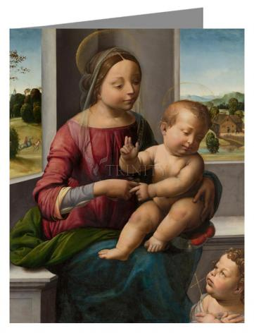 Custom Text Note Card - Madonna and Child with Young St. John the Baptist by Museum Art