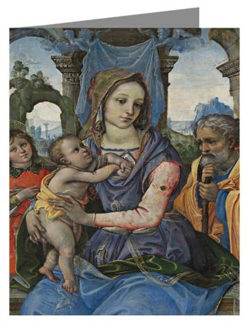 Custom Text Note Card - Madonna and Child with St. Joseph and Angel by Museum Art