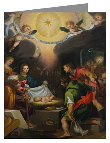 Custom Text Note Card - Adoration of the Shepherds with St. Catherine of Alexandria by Museum Art