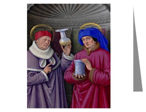 Custom Text Note Card - Sts. Cosmas and Damian by Museum Art
