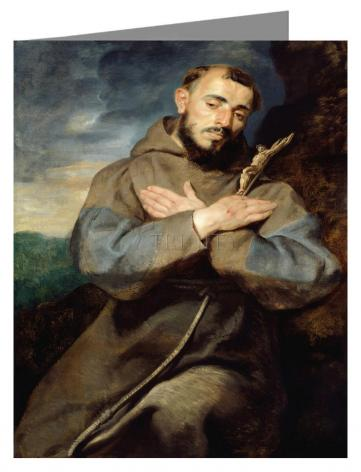 Custom Text Note Card - St. Francis of Assisi by Museum Art